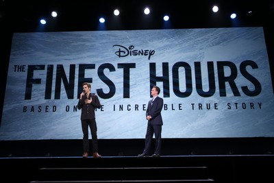 "ANAHEIM, CA - AUGUST 15:  Actor Chris Pine of THE FINEST HOURS and President of Walt Disney Studios Motion Picture Production, Sean Bailey took part today in ""Worlds, Galaxies, and Universes: Live Action at The Walt Disney Studios"" presentation at Disney's D23 EXPO 2015 in Anaheim, Calif. THE FINEST HOURS will be released in U.S. theaters on January 29, 2016.  (Photo by Jesse Grant/Getty Images for Disney) *** Local Caption *** Chris Pine; Sean Bailey"