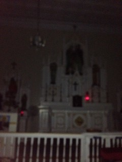 Holy Family Catholic Church Interior at Night.