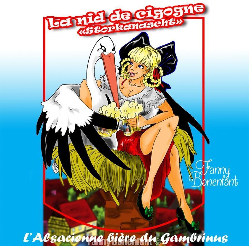étiquette La nid de cigogne - Storkanascht de Brasserie Le Gambrinus par Fanny Bonenfant
