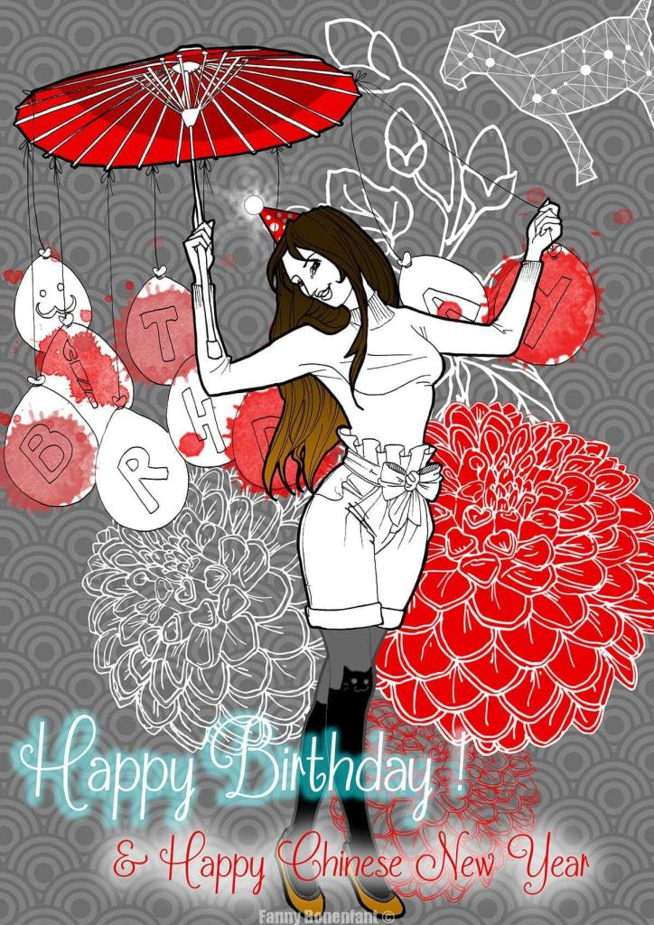 Happy Birthday Fanny Bonenfant illustration Alsace