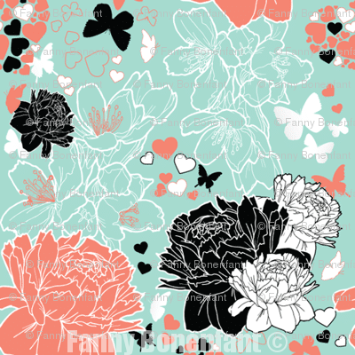 coral and mint spring - Fanny Bonenfant - illustration & design