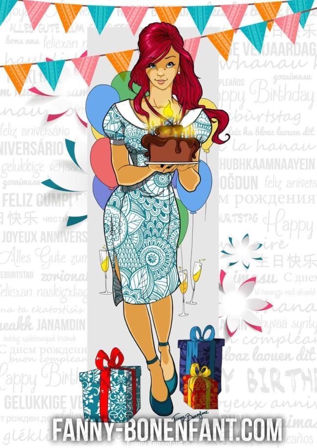 Carte anniversaire pinup birthday Fanny Bonenfant illustrations