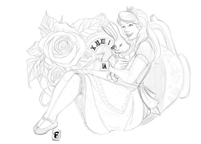 Alice in Wonderland - Esquisse du dessin