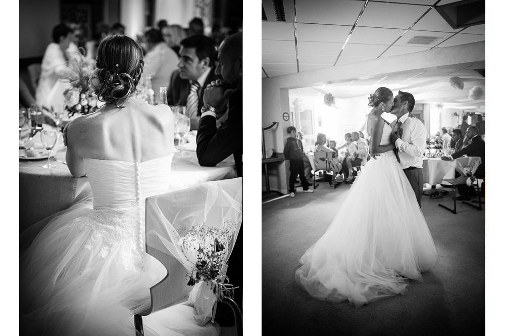 Photo noir et blanc à l'ouverture du bal, et pendant le dîner du mariage au château de pessat villeneuve en auvergne.