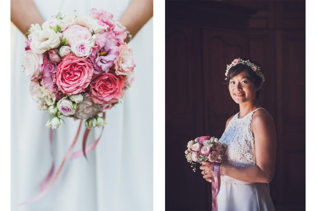 Photographies professionnelles d'une mariee et de son bouquet au chateau de la montmarie a olliergues en auvergne.