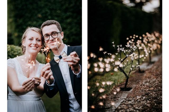 photo de couple avec feu de bengale avant le diner du mariage