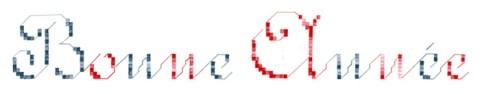 Bonne année avec les lettres brodées tamponnées