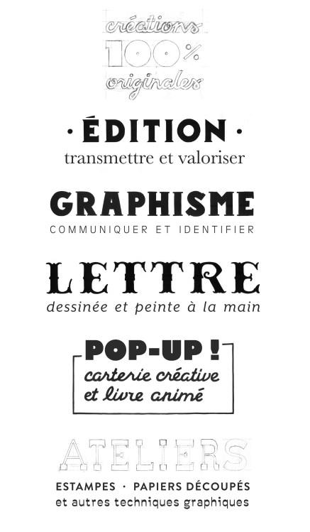 Édition Graphisme Lettres peintes Pop Up Ateliers créatifs Fanny Walz