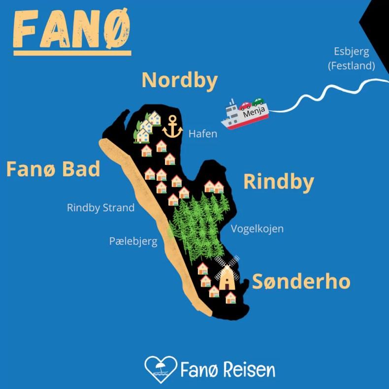 Fanø Karte mit Orten