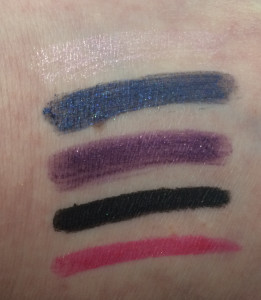 Swatches of the Peripera's Wholly Deep Frozen Auto-Liner set