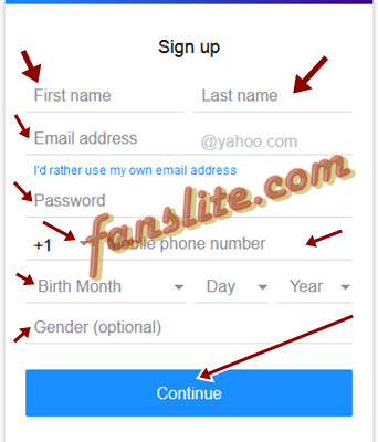 Yahoo email sign up free