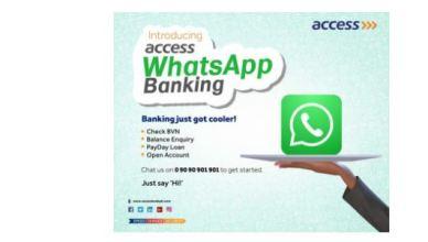 Access Bank WhatsApp Banking - Check Balance, Transfer, Buy Airtime and Pay Bills On WhatsApp