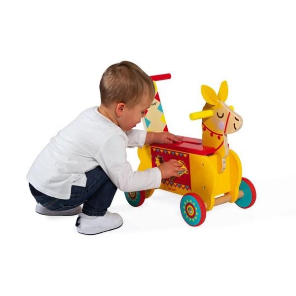 Каталка-ходунки Лама с ручкой и сортером 3 в 1 для детей ...