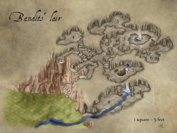 The Bandits' Lair fantasy dungeon map for Kobold Quarterly