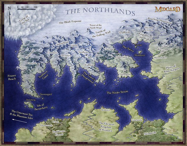 The map of the northlands of the fantasy land of Midgard for Open Design