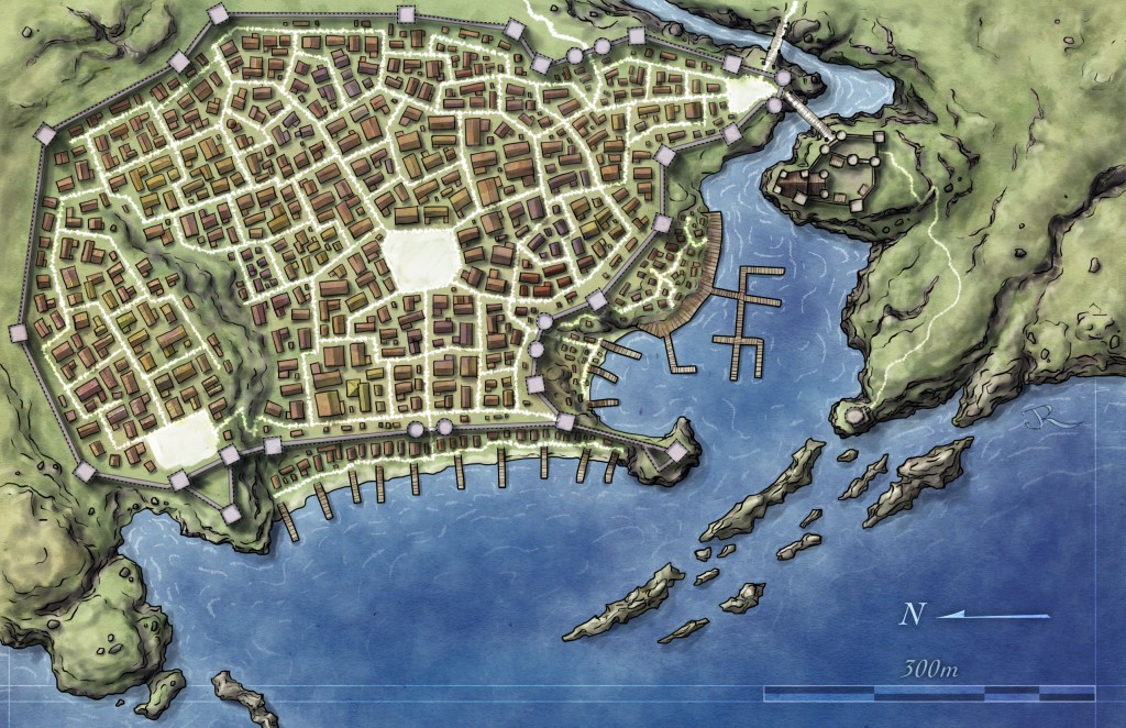 free map of fantasy city for pathfinder and 4e dd