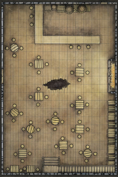 Staggered Goat fantasy battlemap from IDW D&D comic Bad Day Module Edition