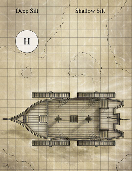 Silt Shoal Horror fantasy battlemap from IDW's Ianto's Tomb adventure for Dark Sun
