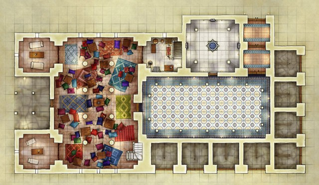 Arabian nights Inn fantasy battlemap for use with D&D and Pathfinder games