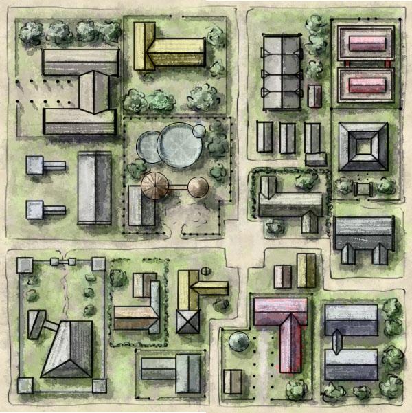 Foreign quarter free fantasy city map tile - Fantastic Maps