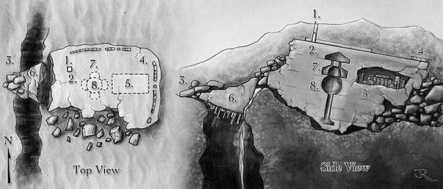Fantasy map of the fallen city of Kadralhu