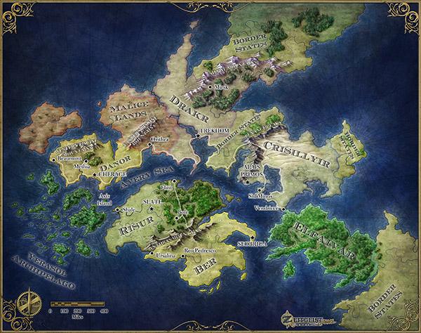 The fantasy world map of the pathfinder world of Zeitgeist for ENWorld publishing
