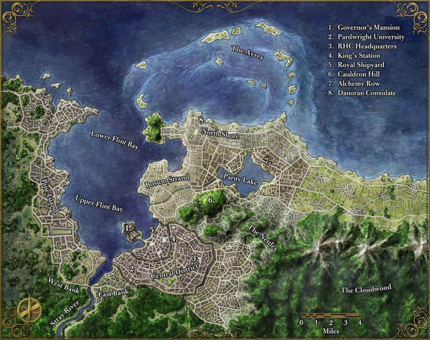 A map of the fantasy city of Flint for the Zeitgeist adventure path
