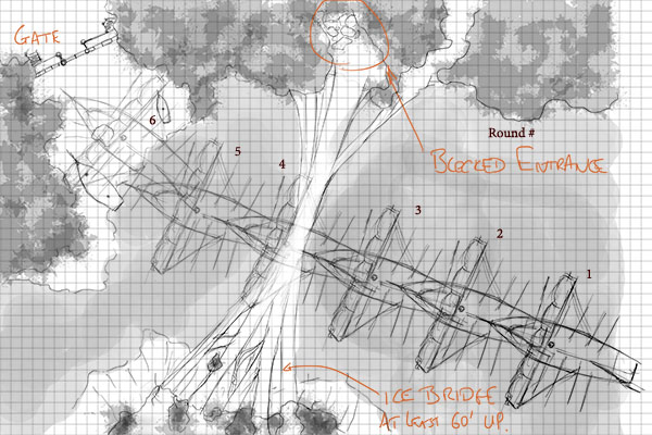 Initial working sketch of the ice bridge map