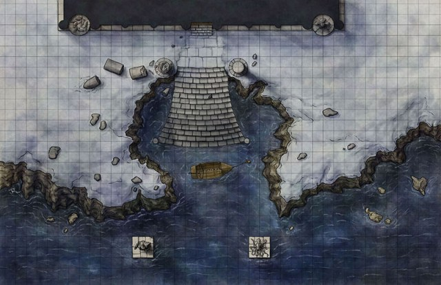 A fantasy battlemap of the temple approach from Illfrost Bondage for 4e d&d for Illusionary Press