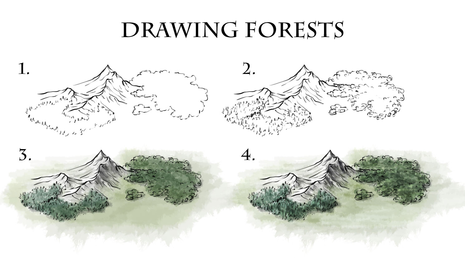 I bet you draw a tree with colorful leaves! How To Draw Forests Fantastic Maps