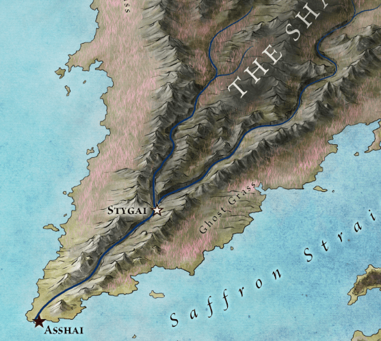 Asshai and the Shadow from the official map of Essos
