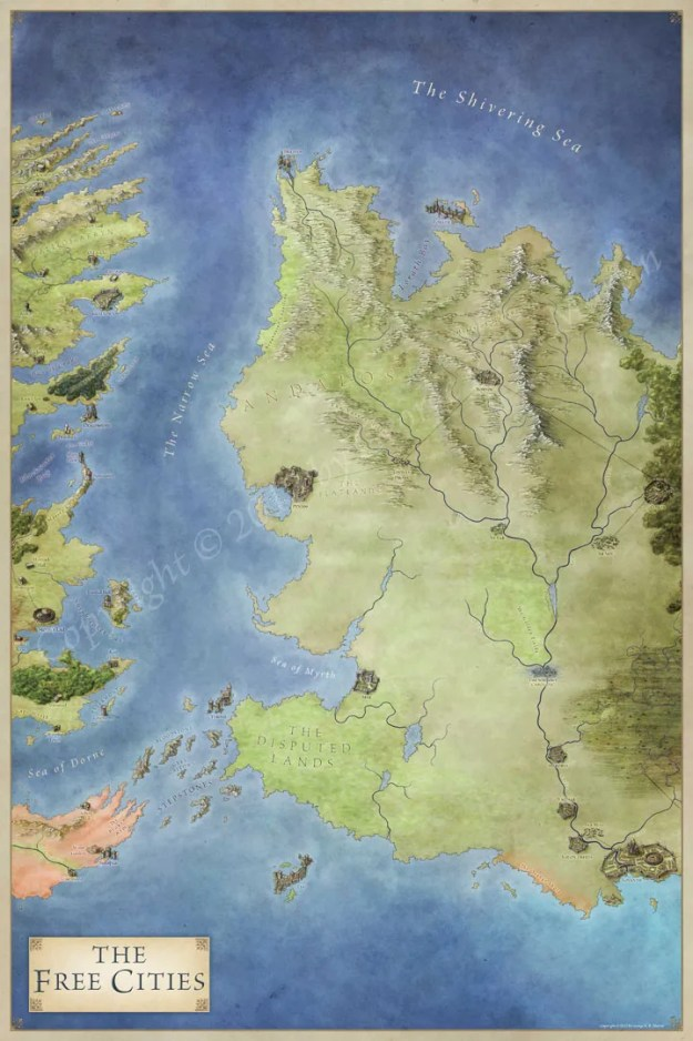The Free Cities map for Game of Thrones