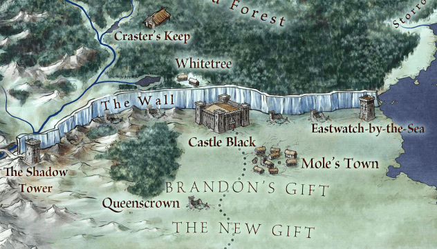 The Wall from the official map of Westeros