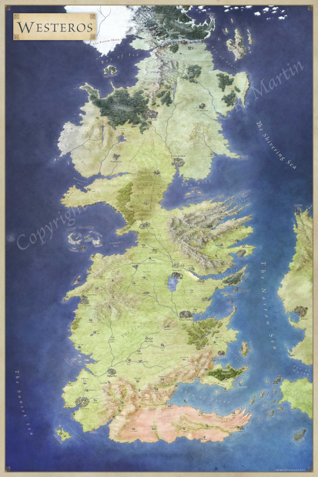 Westeros map for Game of Thrones