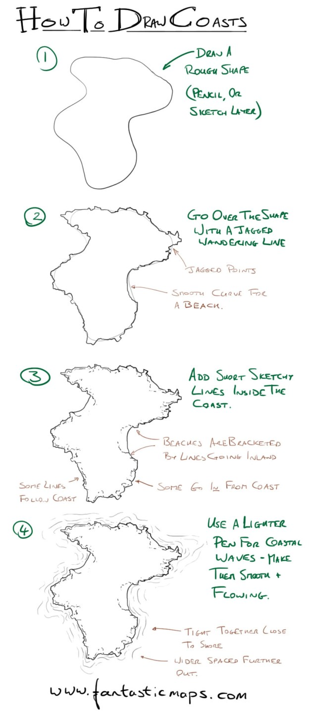 how to draw coastlines on a fantasy map fantastic maps