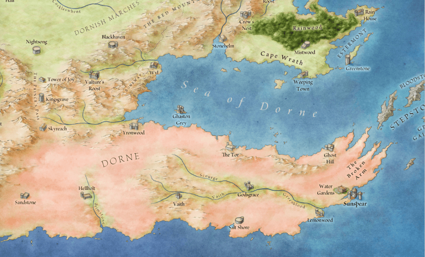 A breakdown of the major landmarks of Dorne. © George RR Martin, used with permission