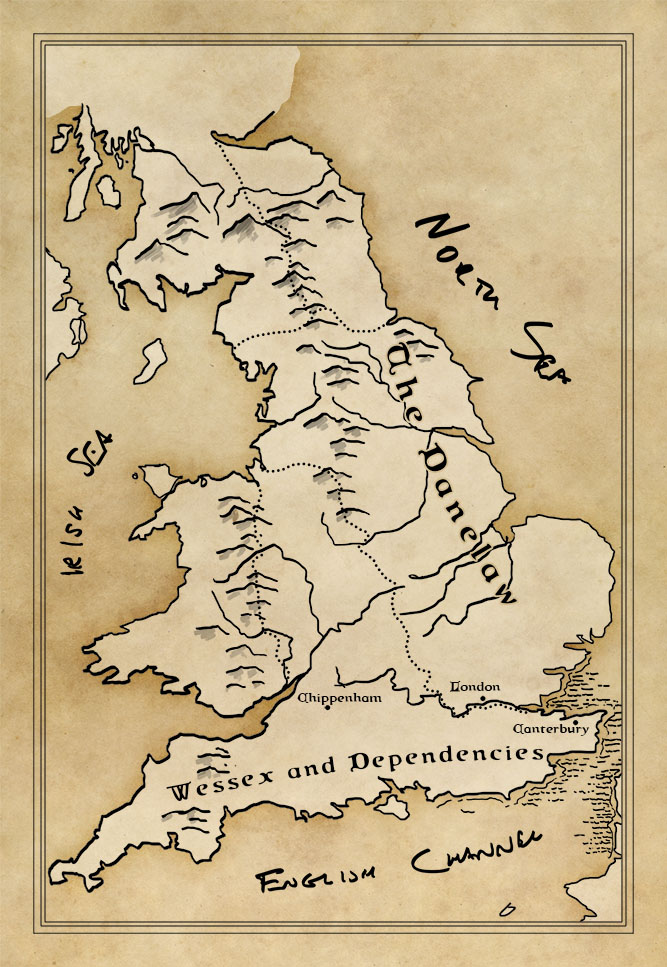 Early colour sketch of a map of Danelaw Britain
