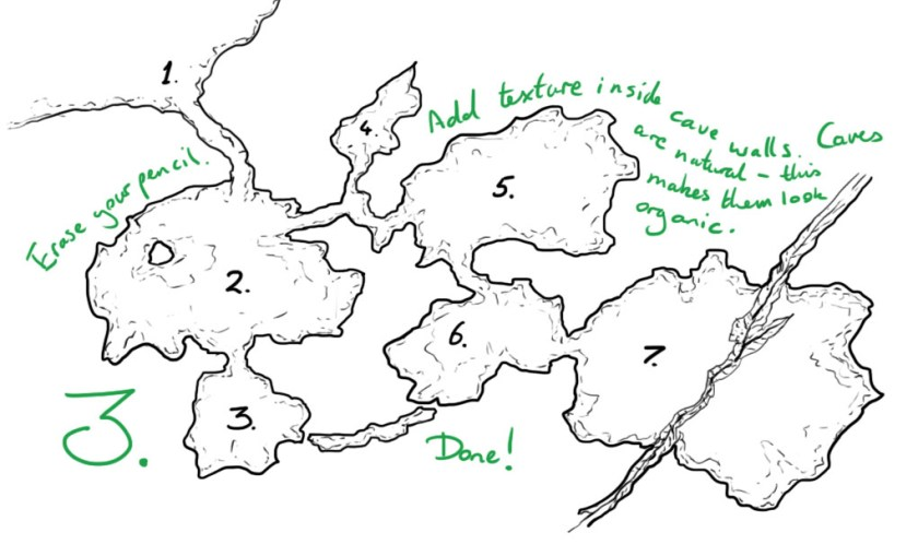Drawing a cave step 3 - details