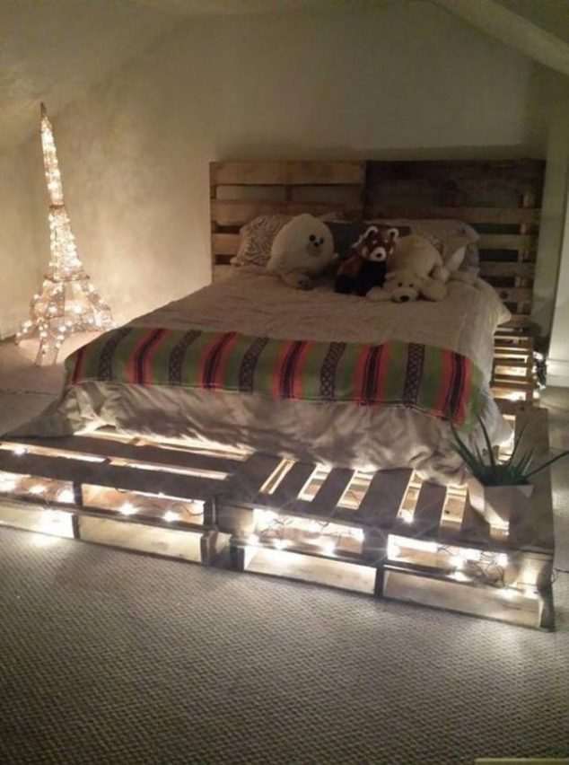 12 Genius Ideas For Pallet Bed With Lights Underneath on Pallet Bed Room  id=42254