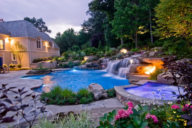 16 Garden And Backyard Swimming Pool Stepping Ideas that ... on Dream Backyard With Pool id=49230
