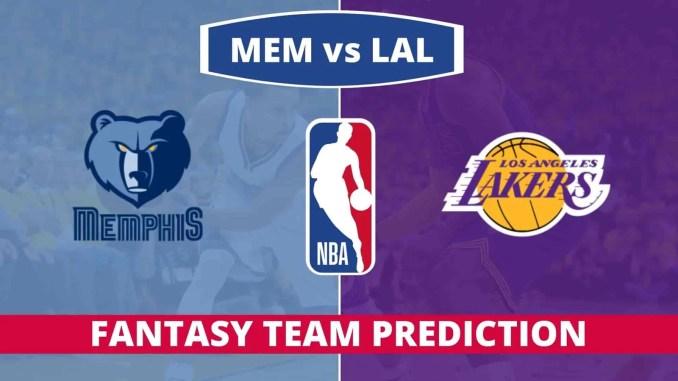 MEM vs LAL Dream11 Prediction Basketball