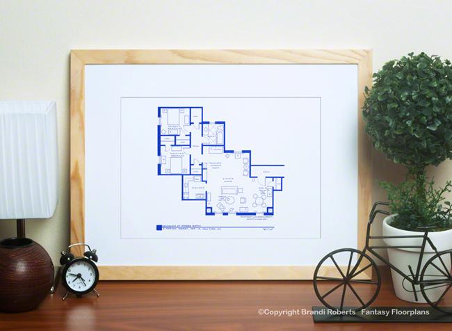 Set Of 4 Friends Apartments Floorplans For Monica Rachel Joey Chandler Phoebe Ross