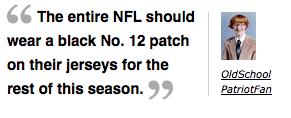 Screen capture from ESPN.com of Patriot fan on Brady injury
