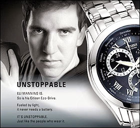 "Eli Manning ""Unstoppable"" Ad Courtesy of Citizen Watches (via Sports Illustrated)"