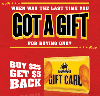 Buffalo Wild Wings - Buy $25 Gift Card, Get $5 Back