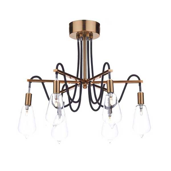 6 Lights Copper Cable Set Pendant