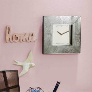 Square Silver Leaf Clock