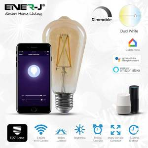 Combine modern day technology with classic looks using this round golden dimmable filament E27 Edison screw bulb. Set this smart LED bulb to warm white light colour for comfortable and cosy relaxing atmosphere. Mix technology with classic style using the LED dimmable filament E27 bulb. Create your own cosy home atmosphere warm light setting of the E27 Edison screw bulb. The vintage style golden ST64 shaped E27 Edison screw bulb with warm white colour fits table and floor lamps with classic and modern home interior. EASY TO CONTROL: Change the brightness the dimmable filament LED bulb remotely – via your smartphone or tablet, using free ENERJSMART App for Android or iOS without any subscription. You don't need a separate hub, since the smart LED light bulb connects directly to your Wi-Fi router. The E27 LED bulb supports voice control – via Amazon Alexa or Google Home. You don't need to stand up from your comfortable sofa to turn the light off, just relax! PROGRAM AND COMBINE: Even if you forget to turn off the light, don't come back! Schedule your dimmable filament E27 LED bulb to go off at 9 am or to switch on at 7 pm or as the TV goes off. BRIGHT AND LONG LASTING: The E27 LED bulb is made for general lighting. 806 lm of the dimmable LED bulb provide as much light as traditional 40W bulb, and last for 2 years if the light is on all the time. The filament E27 LED bulb consumes only 8.5W, when lights are on. Save hundreds of Euro per year with the eco-friendly and energy saving E27 bulb