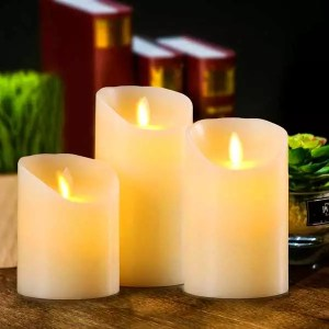 3 LED Candles With Real Flame Effect