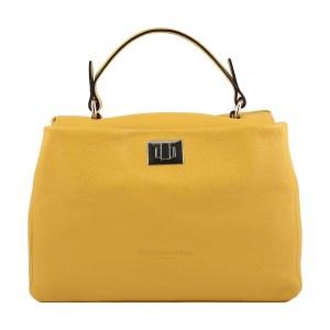 Borsa donna Fantini Pelletteria in pelle gialla chiusura sicura manico in pelle made in italy
